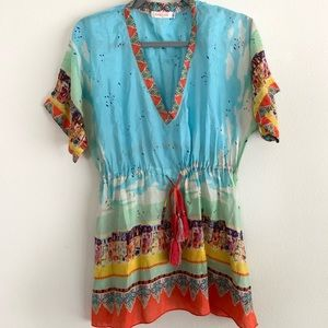 Johnny Was Silk City Print Tie Waist Blouse